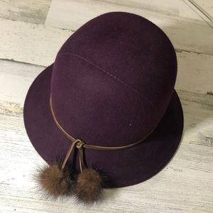 Vintage wool fedora w/mink poms EUC
